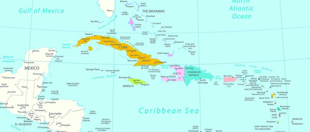karibische inseln karte Karibik Karte mit Lage der Inseln und Orientierung
